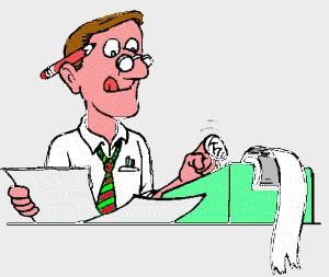 getekende boekhouder met rekenmachine