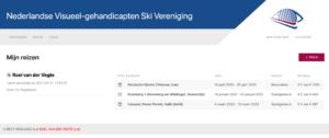 NVSV ledensite - overzicht inschrijvingen